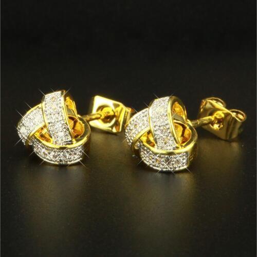 Ohrringe Ø 8 mm Zirkonia weiss 750er Gold 18K vergoldet gelbgold O2655S