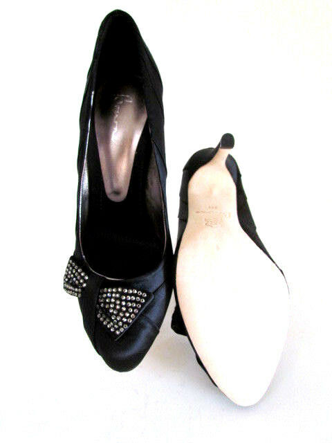 NEW DESIGNER BOURNE BLACK SATIN ALMOND HEEL TOE SPARKLE BOW HIGH HEEL ALMOND PUMPS 8.5-M 5f4be9