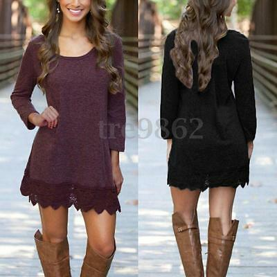Women Loose Cotton Lace Crochet Long Sleeve Mini Dress Long Tops Blouse T-Shirt