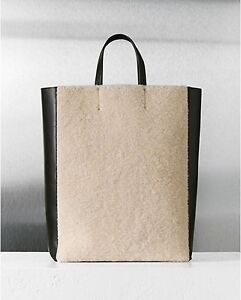 Celine Shearling Black Leather Vertical Gusset Cabas Tote Bag ...