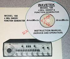 Wavetek 188 4mhz Sweep Amp Function Generator Instruction Ops Service Manuals