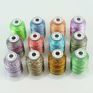 New-Brothread-12-Colors-Variegated-Polyester-Embroidery-Machine-Thread-Kit-500M