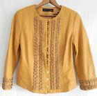 New Dana Buchman Buttery Leather Jacket Yellow/Mustard Size 8 Woven Trim