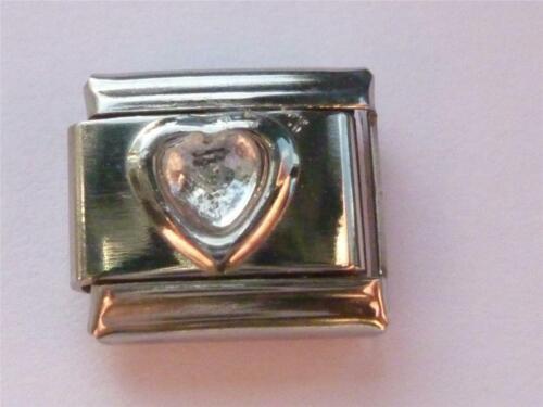 CRYSTAL HEART ITALIAN CHARM APRIL ZODIAC BIRTHSTONE LINK  fits all design CHARMS