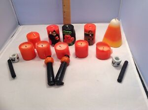 Lot of 14 Vintage Halloween Wax Candles & Black Cat Mini Candle Holders