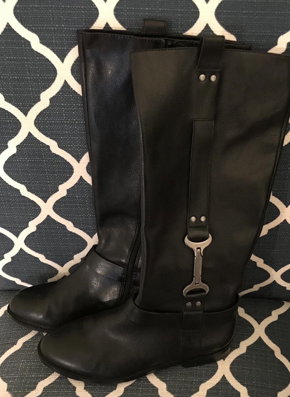 Nine West Avonna Women US 8.5M Black Knee High Boot Pull On Leather Upper