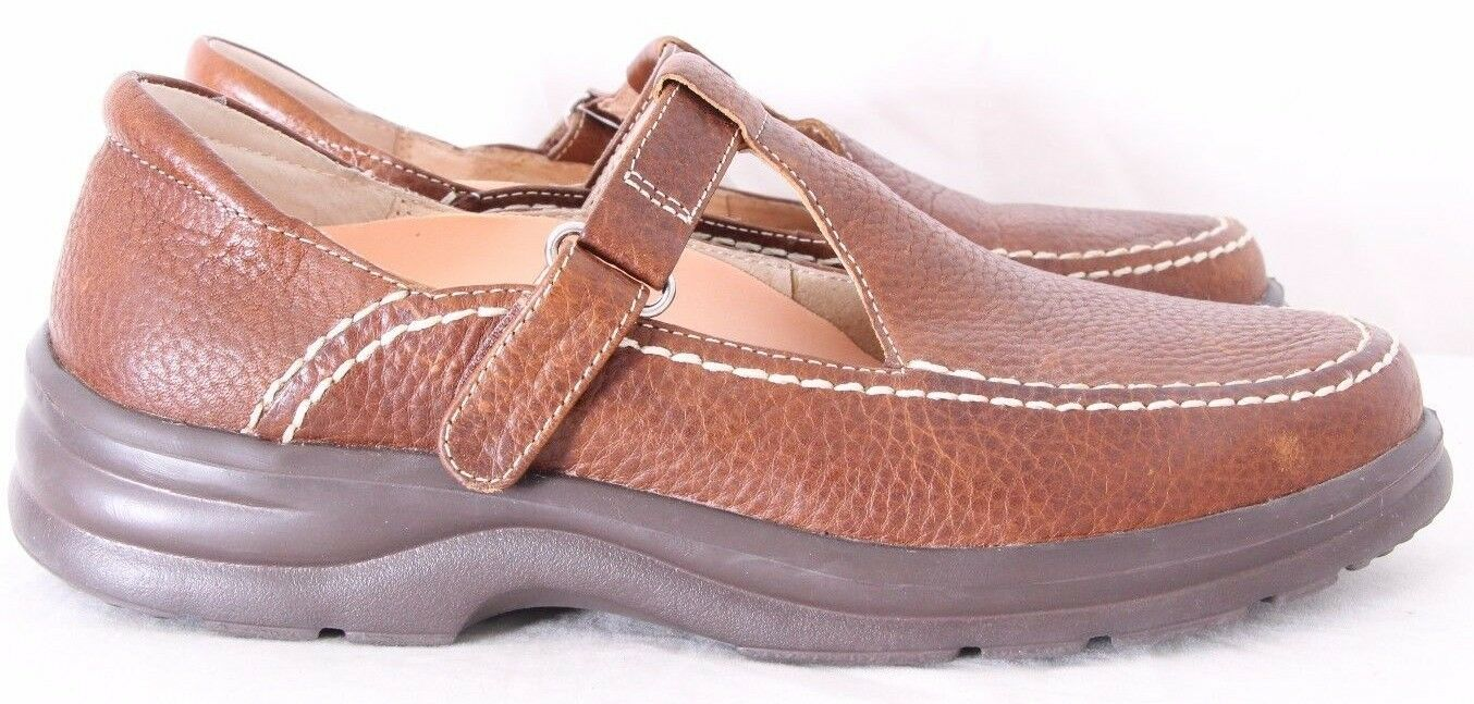 Dr. Comfort 4620 Lu Lu Leather Contrast Stitch T Strap Loafer Women's US 8.5M
