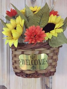 Autumn Fall Fiber Optic Floral Harvest Welcome Basket Wall ...