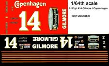 #14 AJ Foyt Copenhagen Oldsmobile 1/64th HO Scale Slot Car Waterslide Decals