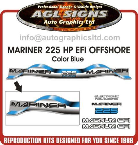 1999-2000 MARINER 225 hp MAGNUM EFI OFFSHORE 3.0 Litre  Decal set  BLUE