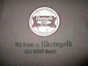 RHEINGOLD-BREWERY-T-SHIRT-Retro-My-Only-Beer-Liebmann-Lager-New-York-Gray-MEDIUM
