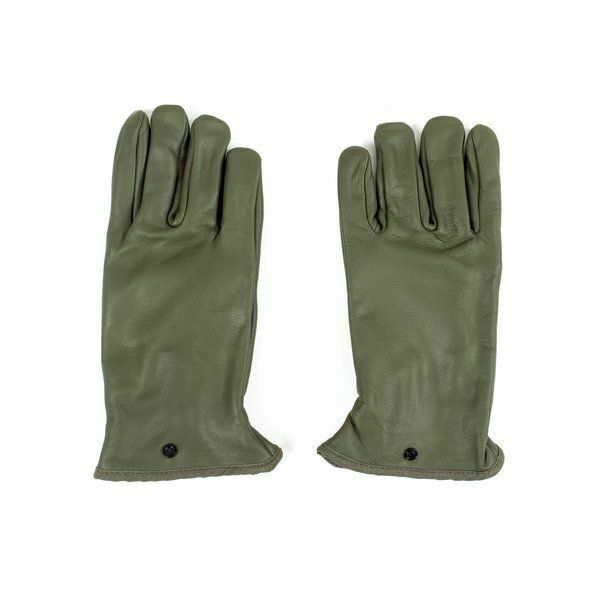 Authentic French Army Leather Gloves Olive Drab Size Large 8.5 inches Fast Ship