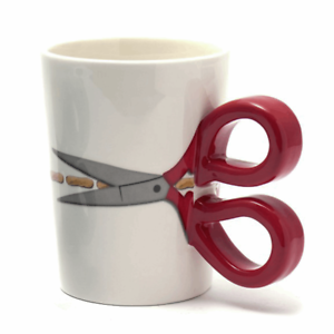 Sew Thirsty Ceramic Mug With Scissor Red Handles 40ml Haberdashery Accessories