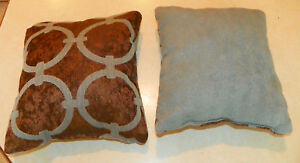 Image is loading Pair-of-Light-Blue-Brown-Print-Throw-Pillows- 55582b0eb