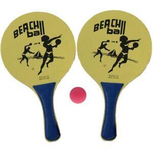 1-Beachball-Set-Beach-Ball-2-Schlaeger-Ball-Strand-Spiel-Tennis-Strandspiel-gelb