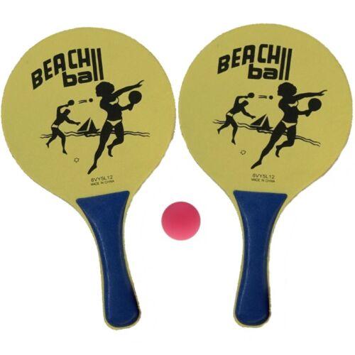 1 Beachball Set Beach Ball 2 Schläger Ball Strand Spiel Tennis Strandspiel gelb