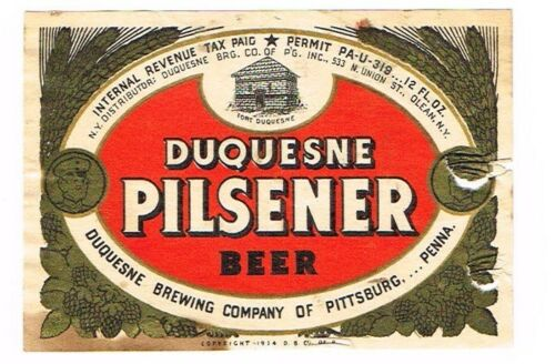 1930s UPermit Pittsburgh DUQUESNE BEER NY Dist. 12oz Label
