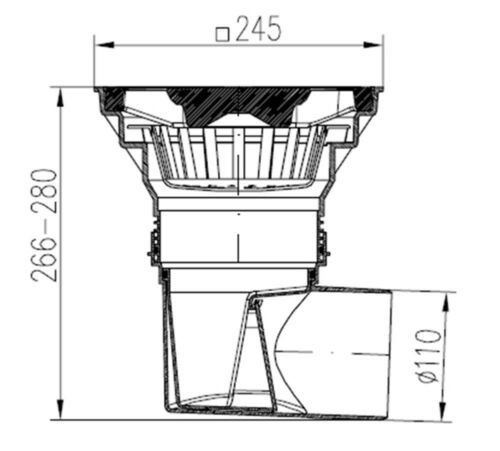 330-s-z 245x245 mm Hofablauf-kunststoffrost-navigable-Charge jusqu/'à 1500 kg