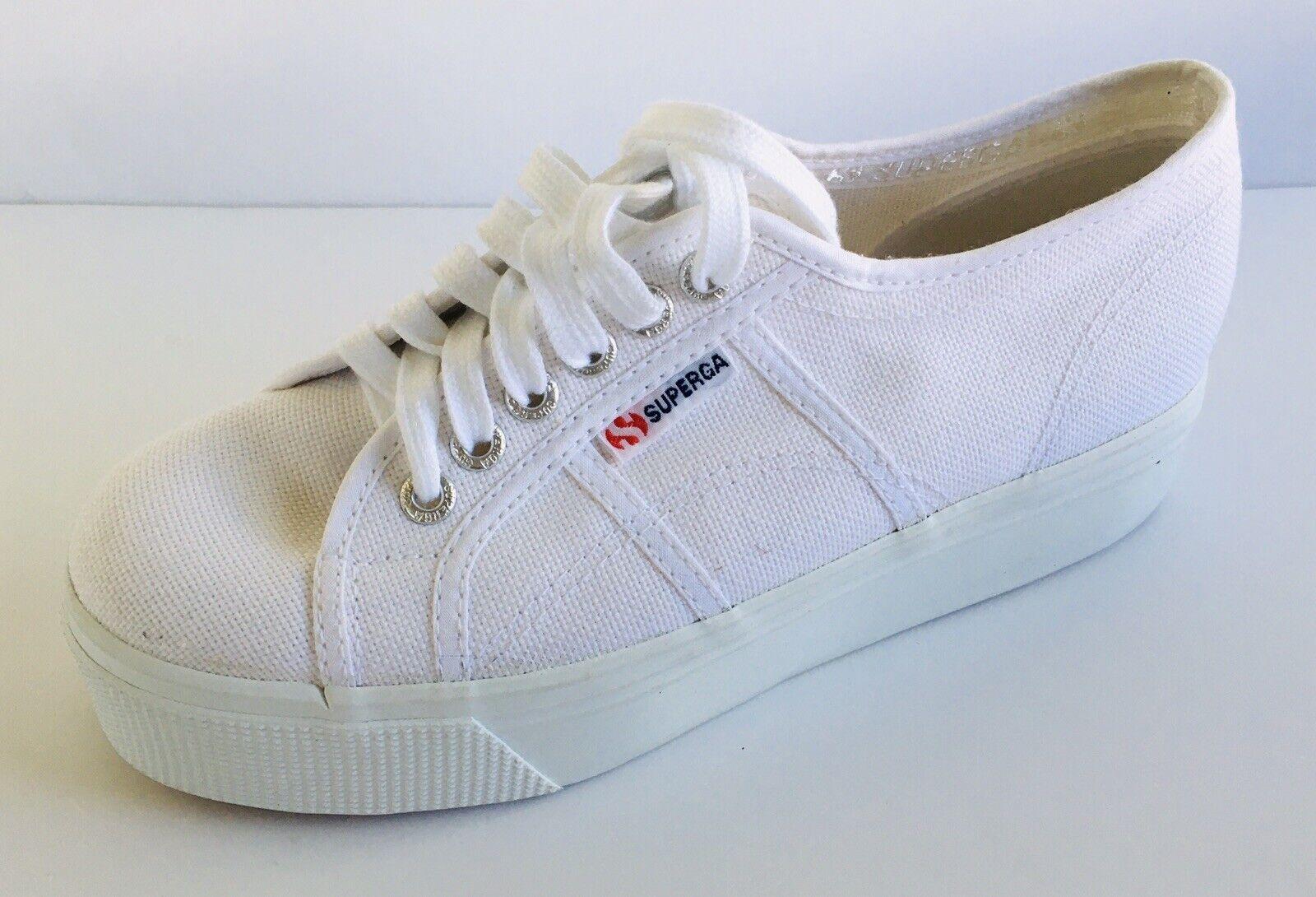 Superga COTWBIGEYELETS Platform Sneakers White Canvas Italy M6.5 W8 EU39