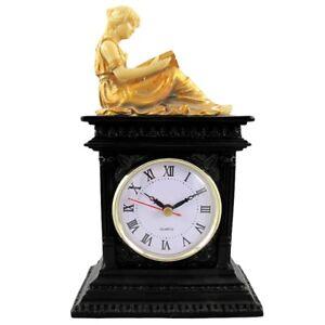LESENDE-SCHONHEIT-Uhr-Tischuhr-Kaminuhr-Polystein-Farbe-SCHWARZ-GOLD-25cm