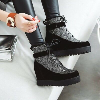 Women Punk Hidden Wedge Heel Lace Up Round Toe Fur Ankle Boots Snow Shoes Ths01