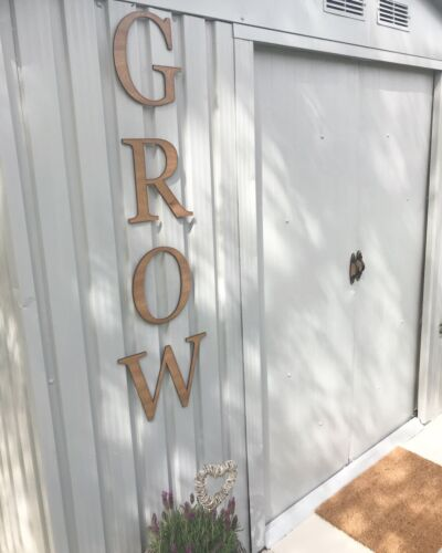 """Oak /""""GROW/"""" letters Garden Sign LE677 Fence Shed Summer House"""