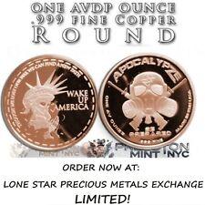 AZ ApocalypZe Zombie Wake Up America 1 oz .999 Copper BU Round USA Bullion Coin