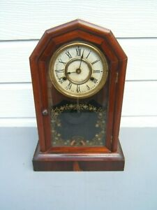 Mahogany-wall-clock-vintage-sectional-sides-glass-front-door-working-key-pen-18-034