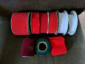 14-rolls-Vintage-Velvet-Ribbon-VARIOUS-WIDTH-amp-Length-Red-Green-White-Maroon