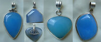 Blue Chalcedony Pendants Set In Sterling Silver Translucient Gemstones