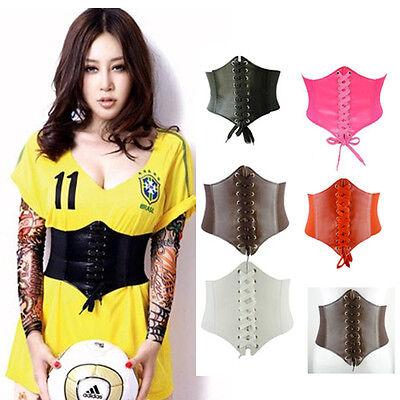 NEW Women Artificial Leather Wide Waist Waistband Belt Corset Elastic Waspie