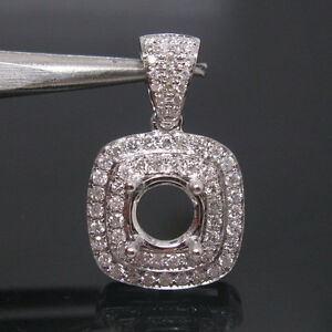 0-42ct-Round-Cut-6-0mm-Solid-14Kt-White-Gold-Natural-Diamond-Semi-Mount-Pendant