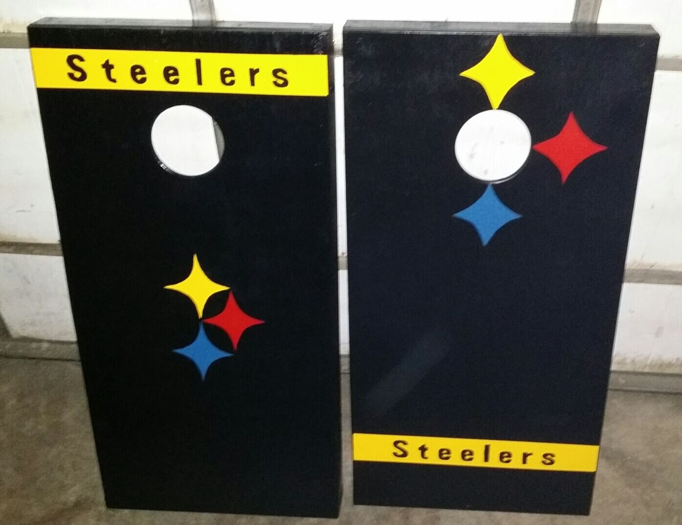 Pittsburgh Steelers Handmade Cornhole Boards AND Embroidered Steelers bags