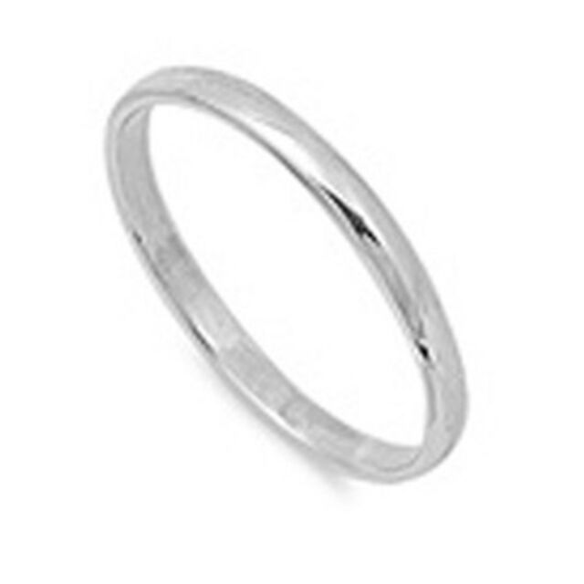 SOLID 2MM PLAIN .925 STERLING SILVER WEDDING BAND ALL SIZES #1 SELLER ON EBAY!