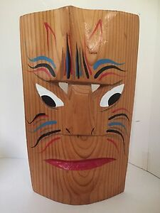 Image Is Loading Tribal Hand Carved Wood Tropical Mask 10 034