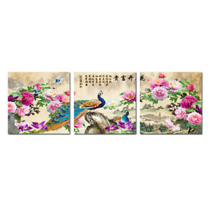 Modern Wall Art Home Decor Abstract Feng Shui Peacock Painting Printed on Canvas