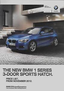 BMW SERIES DOOR SPORTS HATCH PRICE LIST CAR BROCHURE NOVEMBER - Bmw 1 series 3 door price