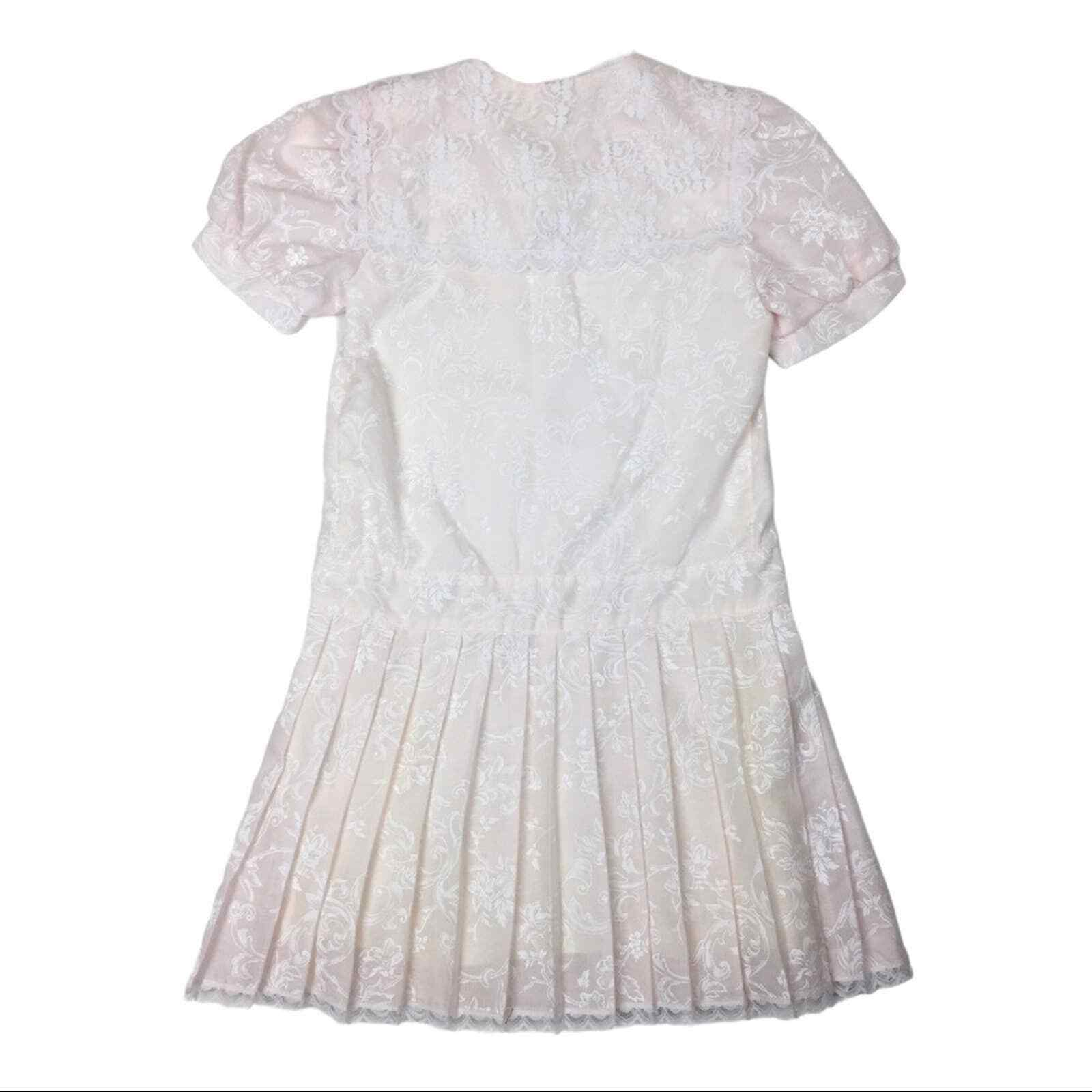 Vintage Gunne Sax lace and floral pleated skirt g… - image 3