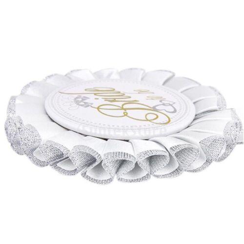 Bridal Shower Stag Hen Night Party White Badge Rosette