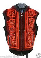 $1195 Versace Red Baroque Printed Velvet Hooded Vest Jacket Xl