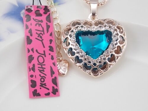 Betsey Johnson Mosaic crystal heart Pendant Necklace Sweater chain LL08
