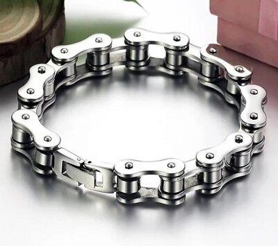 Mens Stainless Steel Bicycle Bike Chain Bracelet Punk Gothic Biker Bangle Gift