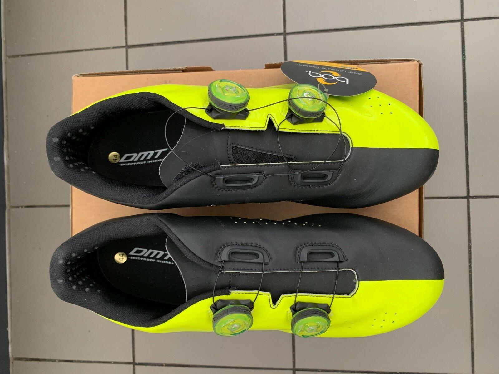Road Cycling zapatos Dmt R1 Amarillo Zapatos Fluo Negro Talla 44