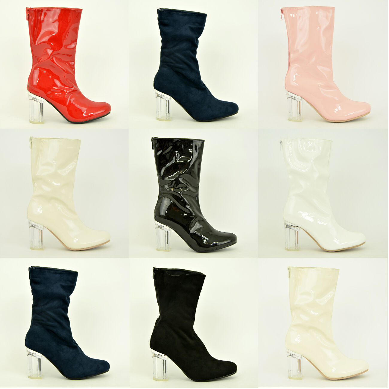 New Womens Ladies Mid Perspex Clear Heel Ankle Calf Boots Shoes Size Uk 3-8