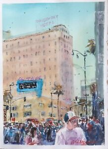 "Watercolor Original Painting Unique 11"" x 15"" Friday Morning At Hollywood Blvd"