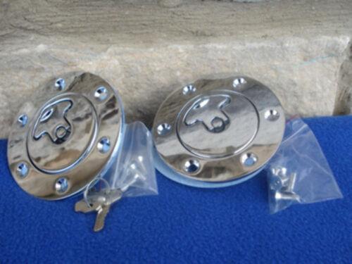 CHROME VENTED FLUSH AERO GAS CAPS 4 HARLEY CHOPPER
