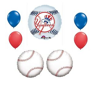 New York Yankees 7 Piece Balloon Bouquet Birthday Party Decorations