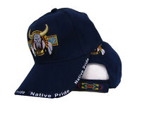Bull Skull Buffalo Indian Native Pride Blue Embroidered Ball Cap Hat