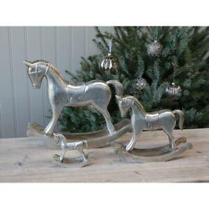 Chic-Antique-Schaukelpferd-Weihnachten-Shabby-Vintage-Toulon-Silber-Christmas
