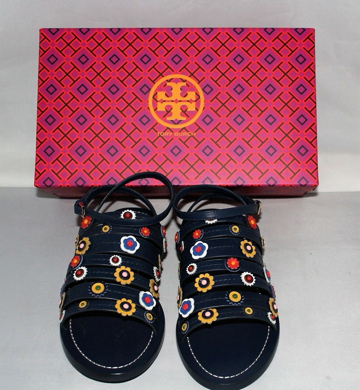 Tory Burch NEW  Marguerite Floral Flat Sandal   Navy    Size  9